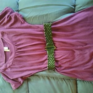 Cute purple belted short sleeve top